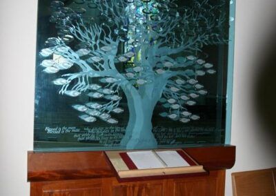 ST. MARK'S LUTHERAN CHURCH - This etched tree of life memoral plaque was created by Hogan Studios. On the leaves are all the names that donated for there house of worship.