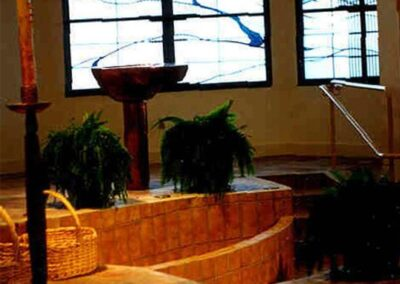 HOLY TRINITY LUTHERAN CHURCH Eldorado Hills, California -  All of Hogan Studios baptismal fonts are uniquely designed to give the sense of our new life in Christ that we have through baptism.