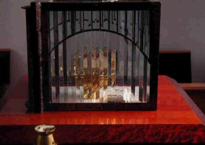 ST. MARY'S CATHOLIC CHURCH Arcata, California - This tabernacle is made of copper and has a clad steel frame and tempered glass with a leaded bevel overlay.