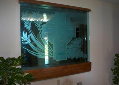 NAZARETH HOUSE San Diego, California - Hogan Studios specializes in glass etching. This is a memorial plaque that was designed for the Nazareth House in San Diego, California.