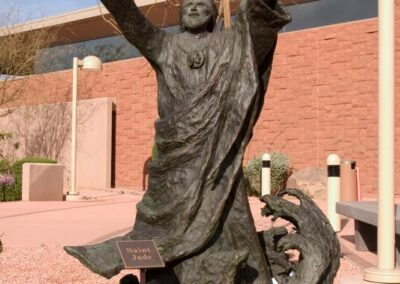 ST. PATRICK CATHOLIC COMMUNITY Scottsdale, Arizona - The theme of this sculpture of St. Jude, done in bronze, includes the sea breaking on the rocky shore as depicted in the book of Jude.
