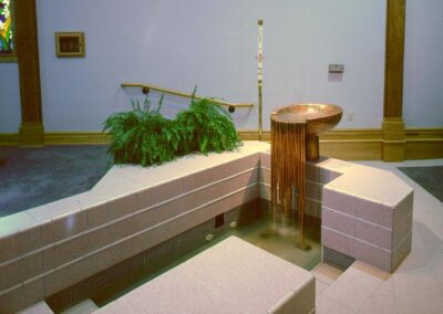 ST. MARY'S CATHOLIC CHURCH Arcata, California - The adult baptismal font was formed with tile, while the infant font is clad in copper. All of Hogan Studios baptismal fonts are uniquely designed to give the sense of our new life in Christ that we have through baptism.